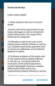 Coinomi Legal disclaimer