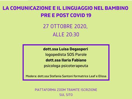 WEBINAR: 27/10/2020 c/o Comune di Trento, Ass. Elissa, SOS Parole, Golden Brain, LEAF, Ass. Fidapa