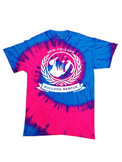 New Orleans Bulldog Rescue Logo Blue and Pink Tie-Dye T-shirt