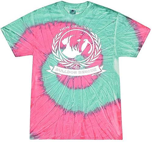 New Orleans Bulldog Rescue Logo Mint Fusion Tie-Dye T-shirt