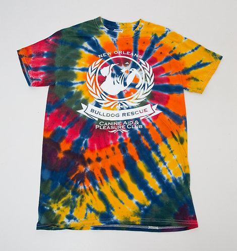New Orleans Bulldog Rescue Logo Tie-Dye T-shirt
