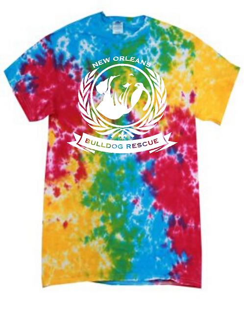 New Orleans Bulldog Rescue Logo Rainbow Splatter Tie-Dye T-shirt