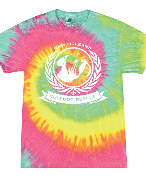 New Orleans Bulldog Rescue Logo Minty Rainbow Tie-Dye T-shirt