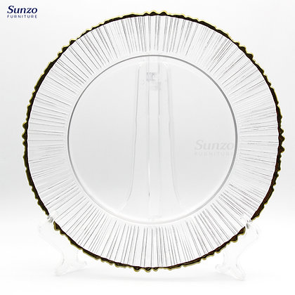 Wedding Glass  Clear Transparent Charge Plates SZ-3015