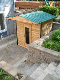 Prefab sauna on patio
