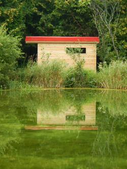 Sauna by the pond
