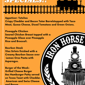 Dinner Weekend Specials! October 15th-16th