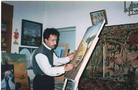 artist at his studio , Kurdistan