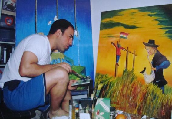 artist at his studio in Japan