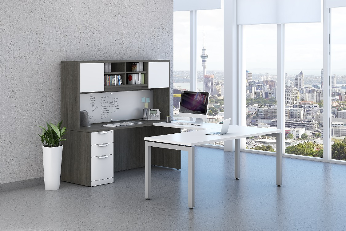 Newport Grey & White Elements Desk