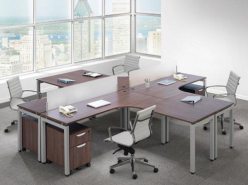 Elements Quad Radius L-Shape Desk w/ Optional Pedestals & Privacy Panels