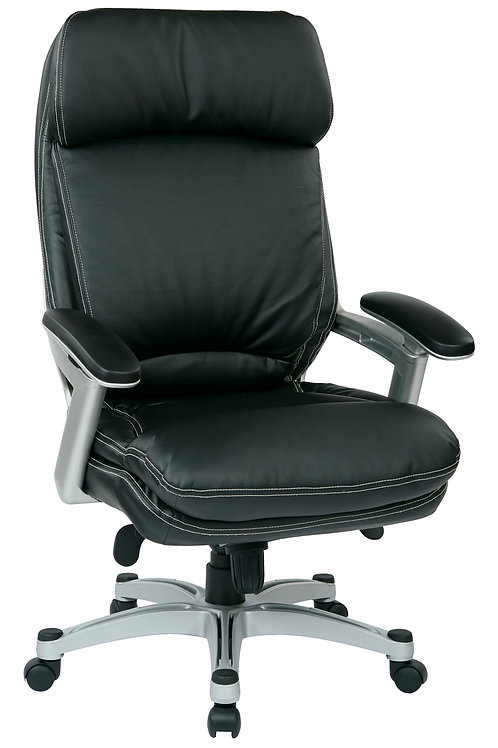 Silver Black Bonded High Back Leather Chair