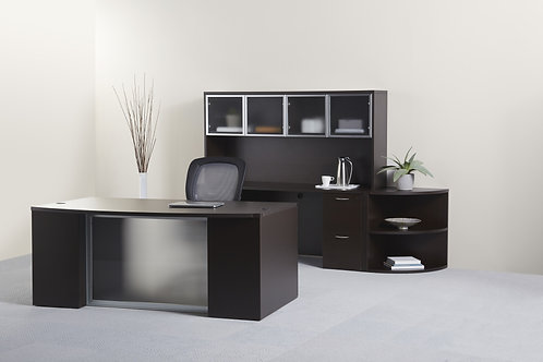 Executive Step Front Desk + Credenda/Hutch Set