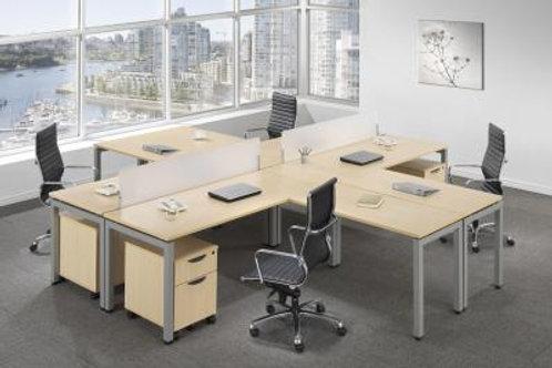 Elements Quad L-Shape Desks with Optional Privacy Panels and Pedestals