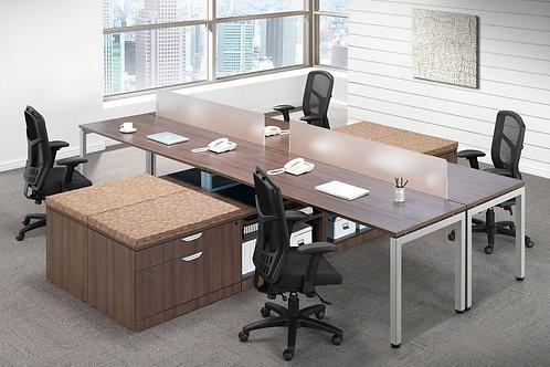 Elements Quad Desks & Low Profile Storage Unit w/ Optional Privacy Panel