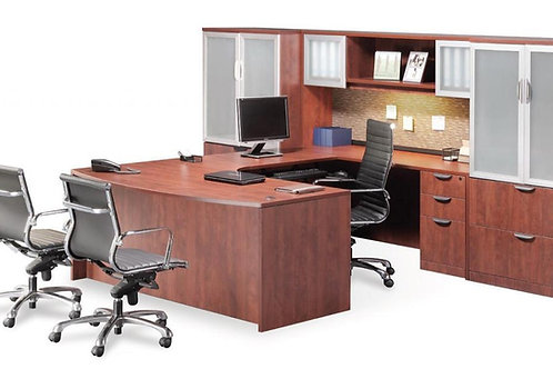 Executive Bow Front U-Shape Desk with Optional Storage/Lateral File