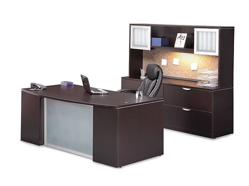 Executive Bow-Step Front Desk + Credenda/Hutch Set