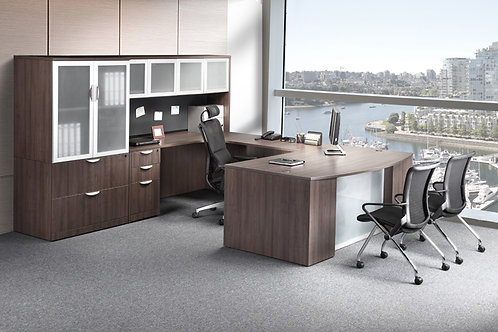 Executive Bow-Step Front U-Shape Desks with Optional Storage/Lateral File Combo
