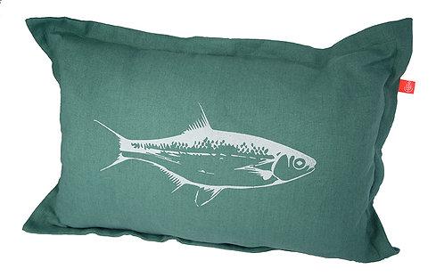 """Leinenkissen """"Fisch dunkelgrau"""" Flaschengrün"""