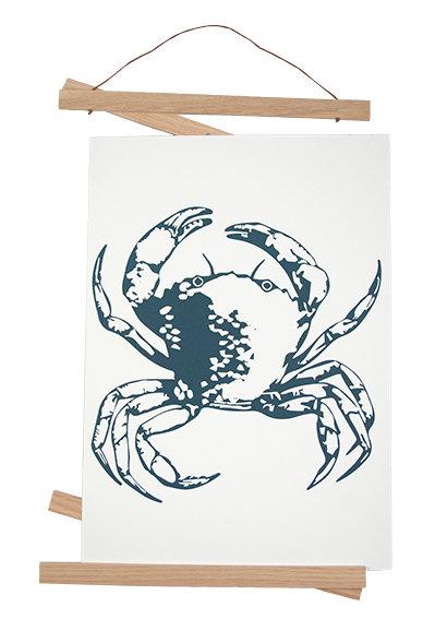 """Siebdruck DIN A3 """"Krabbe petrol"""" auf Baumwollpapier"""
