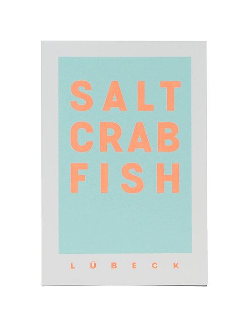 """Postkarte """"Salt, Crab, Fish"""" Neon Pfirsich, Baumwollpapier"""