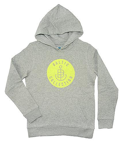 """Hoodie KIDS unisex """"Logo Neon Gelb"""" Grau meliert, Biobaumwolle"""