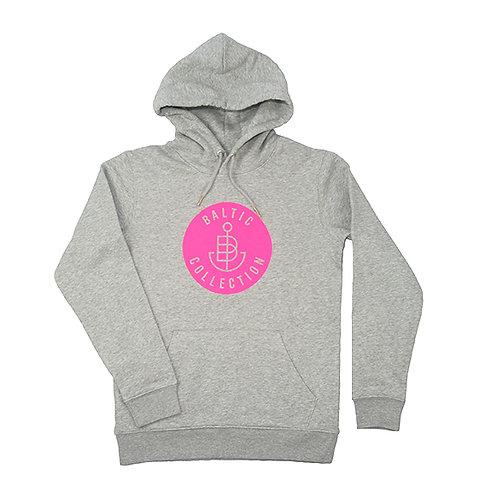 """Hoodie unisex """"Logo Neon Pink"""" Grau meliert"""
