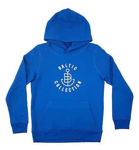 """Hoodie KIDS unisex """"Logo Outline weiß"""" Royalblau, Biobaumwolle"""
