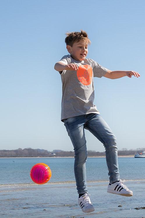 "T-Shirt KIDS Boy ""Logo neon orange"" Grau meliert"