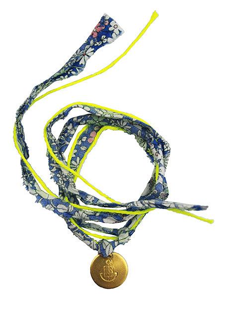 """Armband """"Blumen blau"""" aus Baumwolle"""