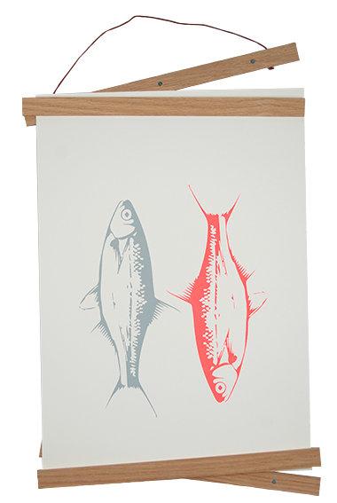 """Siebdruck DIN A3 """"2 Fische neon koralle"""" auf Baumwollpapier"""