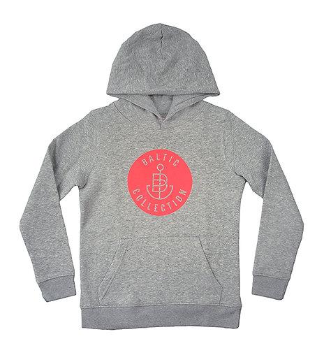 """Hoodie KIDS unisex """"Logo neon koralle"""" Grau meliert, Biobaumwolle"""