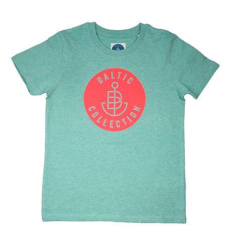 "T-Shirt KIDS Unisex ""Logo neon koralle"" Mint meliert"