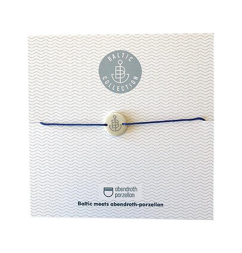 """Armband """"Anker grau"""" aus Porzellan mit Band royalblau"""