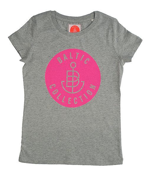 """T-Shirt KIDS Girl """"Logo neon pink"""" Grau meliert"""
