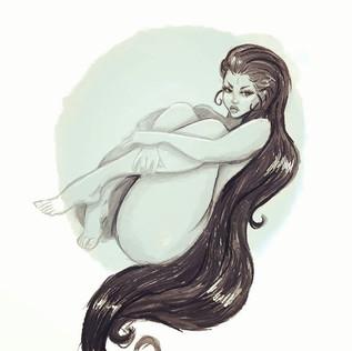 Sea Green Goddess - Digital Watercolor