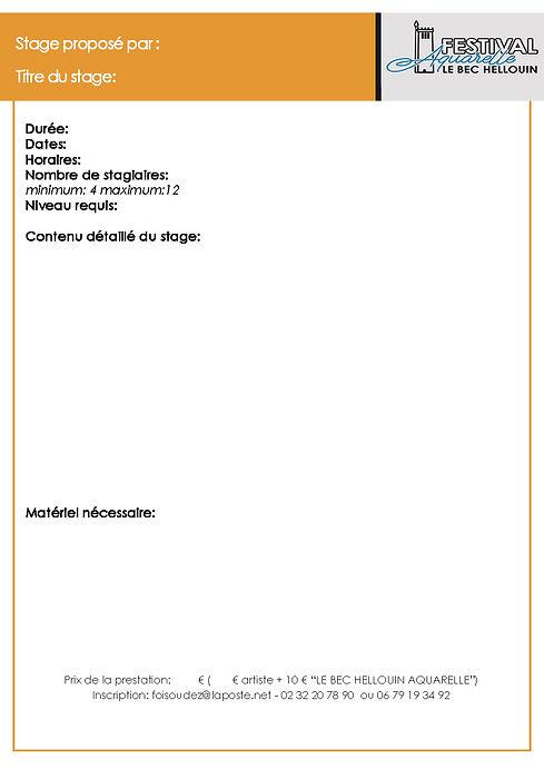 fiche inscription stage ARTISTES modèle.