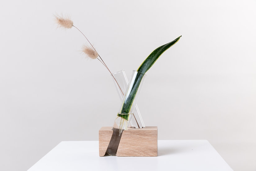X Brick Side View Wooden Propagation vase