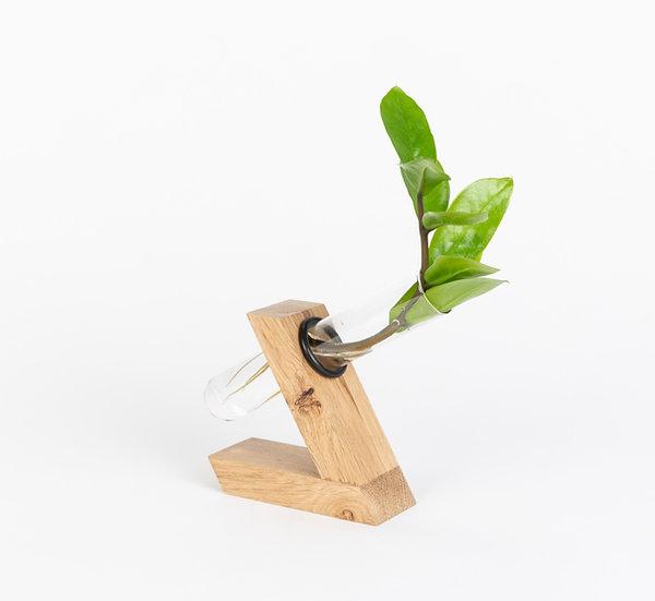 Herba Oak wood plant holder test tube vase