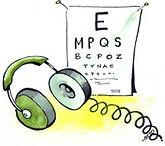 headphones and an eye chart