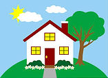 House on a hill with partly cloudy blue sky and a tree.