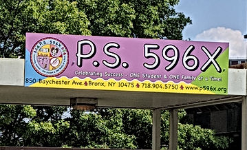 PS596X School Sign in front of PS178