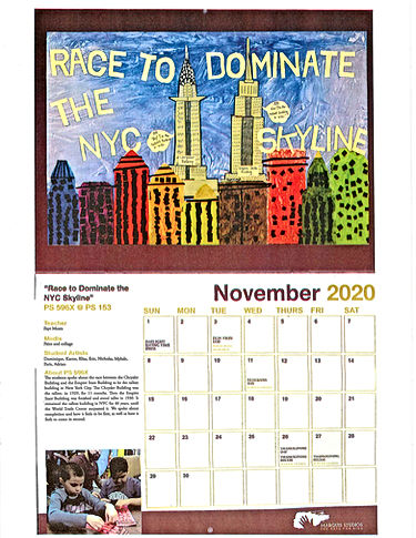 P596X Calendar artwork featuring a drawing of the city skyline.