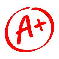 A+ grade inside a red circle