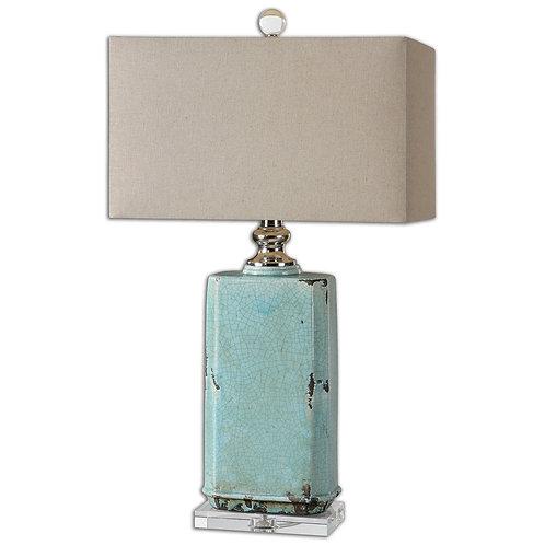 Distressed Table Lamp - Aqua