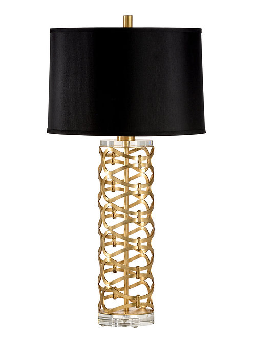 Gold Geometric Patterned Table Lamp