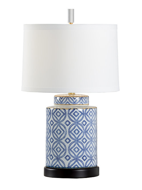 Patterned Table Lamp - Blue and White