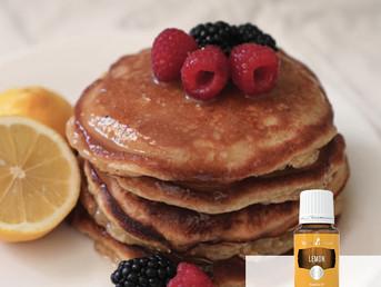Lemon Vegan Pancakes Recipe with Lemon Essential Oil