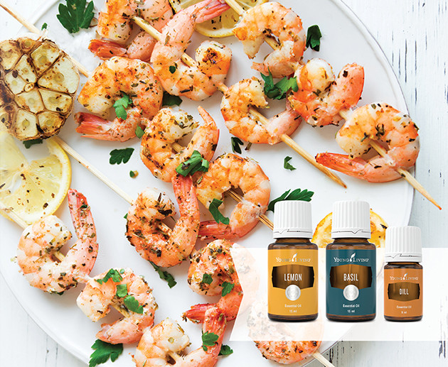 BBQ Prawns with Citrus Garlic Marinade Recipe with Lemon & Basil Essential Oil Australia