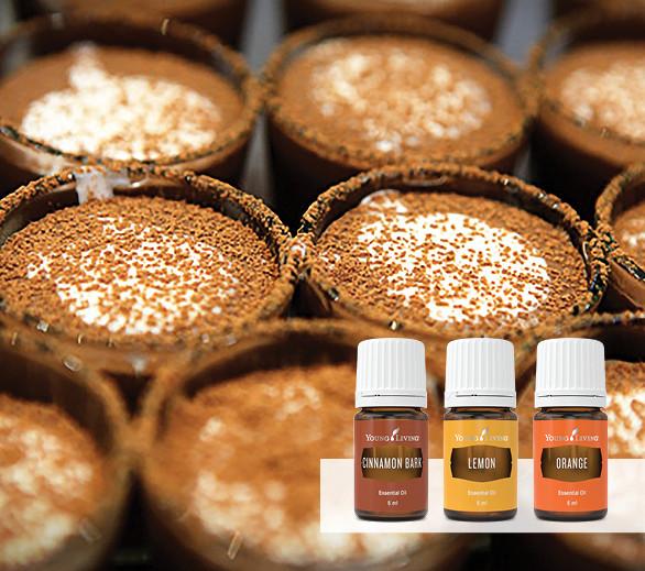 Chocolate Coconut Pots and Caramel Sauce Recipe with Orange Essential Oil